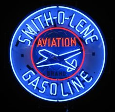 Smitholene Aviation Neon Sign Vintage Neon Signs, Custom Neon Signs, Vintage Labels, Love Neon Sign, Neon Light Signs, Old Gas Pumps, Neon Moon, Old Signs, Light Painting