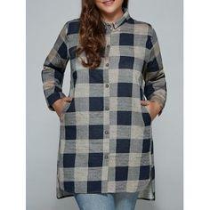 6a69d750235 Free shipping 2018 Plus Size Linen Long Plaid Boyfriend Shirt PURPLISH BLUE  XL under  15.38 in