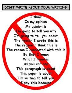 MINI-LESSON: DON'T WRITE ABOUT YOUR WRITING (COMMON CORE ALIGNED) - TeachersPayTeachers.com