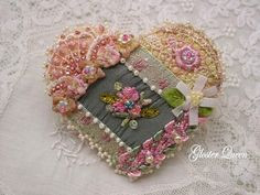 Crazy quilt pin with fabulous vintage ruched by GlosterQueen
