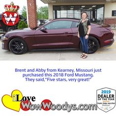 With a smile as big as this, you can't help but feel ecstatic with Brent and Abby! Congratulations! 🎉 #customerreviews #wowwoodys #carshopping #ford #fordmustang #musclecars