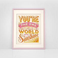 You Fill My World With Sunshine - Cross Stitch Pattern (Digital Format - PDF) by Stitchrovia on Etsy https://www.etsy.com/listing/252734164/you-fill-my-world-with-sunshine-cross