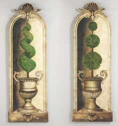 Pair hand painted topiary with Baroque Trompe L'oiel fram wall panels