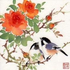 """Love among the Roses"" - Original Fine Art for Sale - © Jinghua Gao Dalia"