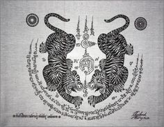 Thai traditional art of Talisman Tiger Leap Tiger by AmornGallery, ฿159.00