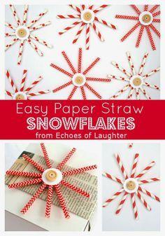 Sterne + Schneeflocken aus Strohhalmen / Easy Paper Straw Snowflakes