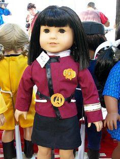 Uughhhh, i need to run out and make an American Girl Tasha Yar doll. Wonder where they got the uniform....