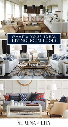 We think the best living rooms evolve over time and are filled with color and texture. Tell us, which is your favorite? Coastal Living Rooms, My Living Room, Home And Living, Living Room Decor, Dining Room, Home Design, Interior Design, Design Ideas, Modern Design
