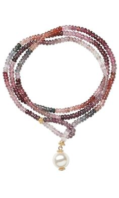 Single-Strand Necklace with Multi-Colored Spinel Gemstone Beads and Swarovski® Crystal Pearl Beads