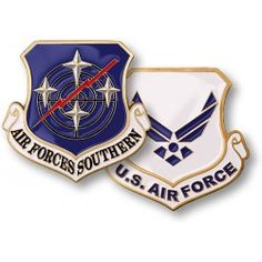 """Air Forces Southern  This distinctive """"shield-shaped"""" coin honors the commitment and dedication of the members of the Air Forces Southern who enhance the power of America's Armed Forces throughout the world.     https://store.nwtmint.com/product_details/2888/Air_Forces_Southern/"""