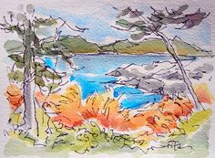 Sketchbook Wandering : Landscape Season in Maine Watercolor Sketchbook, Pen And Watercolor, Watercolor Illustration, Landscape Sketch, Watercolor Landscape Paintings, Nature Sketch, Amazing Drawings, Ink Illustrations, Art Journal Inspiration
