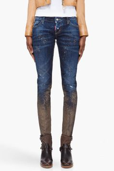 Dsquared2 Beige Paint Splattered Jeans for women | SSENSE