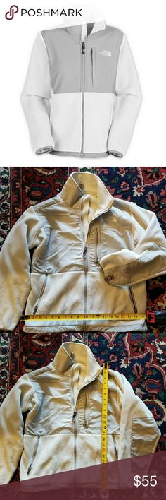 NORTH FACE white and grey jacket NORTH FACE white and grey fleece jacket size small. Measurements in pictures, great everyday jacket! The North Face Jackets & Coats