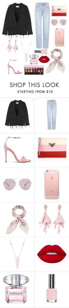 """#73"" by lndsyklmod ❤ liked on Polyvore featuring Maison Margiela, Yves Saint Laurent, Gucci, Fendi, Manipuri, Oscar de la Renta, Alex and Ani, Lime Crime, Versace and Topshop"