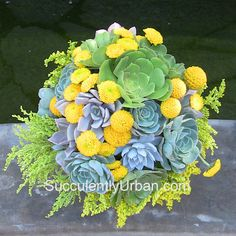 Succulent bouquet yellow and green