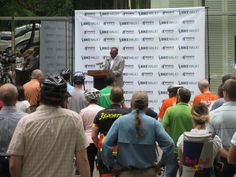 Mayor Jones announces the completion of Richmond's first Bicycle Master Plan at Friday's Bike to Work Day rally.