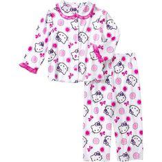 Hello Kitty Baby Toddler Girl Button Down Pajama Sleepwear Set - Walmart.com