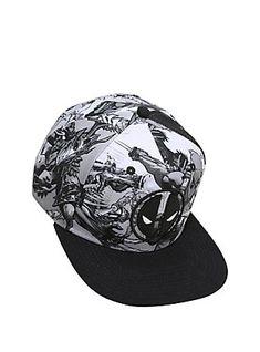 Marvel Deadpool Black   White Comic Art Snapback Hat 45c2c4e46dd