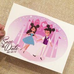 A Save•The•Date I designed for our friends super magical DisneyWorld wedding next week! Can't wait! #LindaAndDavid2015