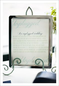"""Consider an """"unplugged"""" wedding so guests can be present and in the moment celebrating with you (instead of playing with their phones, cameras and iPads) The Unplugged Wedding - Justin & Mary - Photography Cute Wedding Ideas, Wedding Trends, Wedding Inspiration, Our Wedding Day, Wedding Signs, Marriage Pictures, Unplugged Wedding, Wedding Planning Checklist, Guest Book Alternatives"""