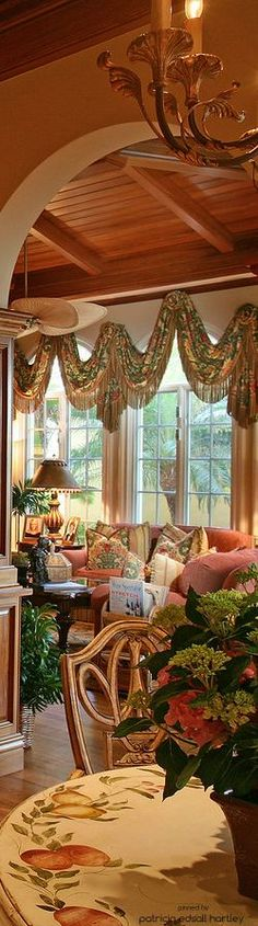 French Country Living - I like everything but the window treatment