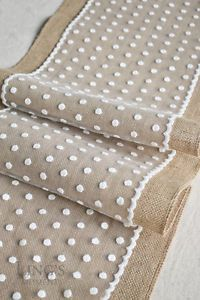 Burlap Polka Dot Lace Table Runner Rustic Candy Buffet Kids Birthday Party Decor - Aparecida Capitelli - Welcome to the World of Decor! Burlap Table Runners, Quilted Table Runners, Rustic Candy Buffet, Birthday Table, Burlap Crafts, Burlap Lace, Mug Rugs, Table Toppers, Decoration Table