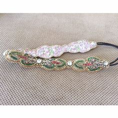 Anthropologie Beautiful Beaded Headband Never worn. Light pink, light green and clear diamonds on it. Hard to let it go but I'm really trying to make some extra money. Anthropologie Accessories Hair Accessories