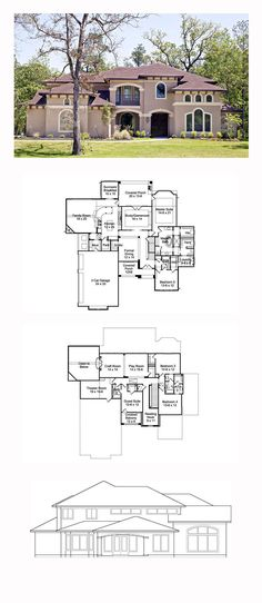 Italian House Plan 77827 | Total Living Area: 4501 sq. ft., 5  bedrooms and 4 bathrooms. #italianhome