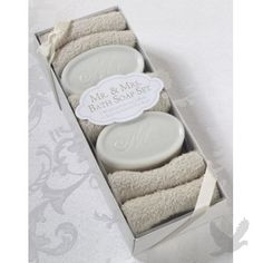 "Honeymoon Suite Styling--""Mr. & Mrs.\"" Bath Soap & Washcloth Set"