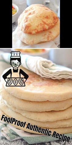 Easy Bread Recipes, Donut Recipes, Coffee Recipes, Cooking Recipes, Pita Bread Ingredients, Unleavened Bread Recipe, Greek Pita Bread, Mediterranean Bread, Homemade Pita Bread