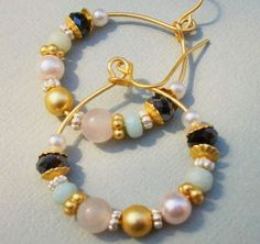 Semi Precious Gemstone Pearl And Rondelle Gold Hoop Earrings Rose Quartz And Green Jade Earrings by JewelryJust4You on Etsy