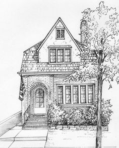 "House Drawn in Ink 8""x 10"" Architectural Sketch One of a Kind custom artwork house portrait your home sketch from photo - custom ink drawing"