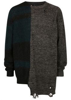 Distressed panelled mohair blend jumper - Knitwear - All Clothing - Men
