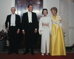 President Nixon and Mrs. Nixon welcome the Duke and Duchess of Windsor to the White House.