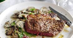 This recipe for steak with garlic mushroom cream and winter greens is really quick and easy to make but feels like a real treat