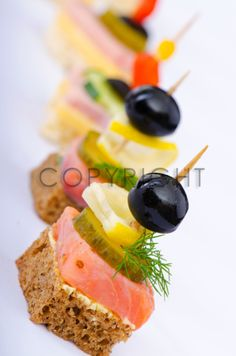 Picture of Selection of various canape stock photo, images and stock photography. Find Selection Various Canape stock images and royalty free photos in HD. Explore millions of stock photos, images, illustrations, and vectors in the Shutterstock creative c Finger Food Appetizers, Appetizers For Party, Finger Foods, Appetizer Recipes, Party Canapes, Food Buffet, Food Platters, Party Buffet, Aperitivos Finger Food