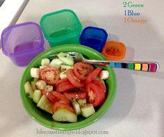 Cucumber, Tomato, Mozzarella Salad: 2 green, 1 blue, 1 orange. Life Coastie Style: 21 day Fix