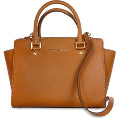 Michael Kors Selma Saffiano Leather Medium Satchel ($188) ❤ liked on Polyvore featuring bags, handbags, saffiano leather bag, saffiano leather purse, medium satchel, brown bag and saffiano leather handbags