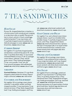 7 Tea Sandwiches (bad link but everything is in the pin) Afternoon Tea Parties, Thinking Day, Christmas Tea, My Cup Of Tea, Tea Recipes, Kitchen Recipes, Just In Case, Tea Time, Tea Pots