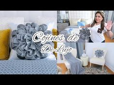 COMO HACER COJINES ELEGANTES FACILES Y RAPIDOS SIN CREMALLERA // DIY COJIN DE FLOR 🌼 #diycojines - YouTube Glam Pillows, Bow Pillows, Diy And Crafts, Crafts For Kids, Paper Crafts, Diy Cushion, Diy Bow, Hand Embroidery Designs, Fabric Flowers