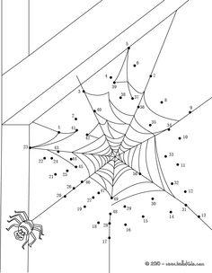 HALLOWEEN dot to dot - SPIDER WEB dot to dot game