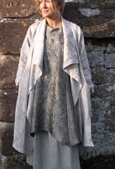 New Edy Jacket in embroidered linen £260 (over collar Tunic and Button Skirt).
