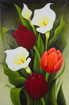 Limited Edition Floral Oil Painting from Mexico - Tulips and Calla Lilies | NOVICA