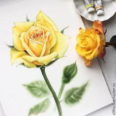 """Купить Акварельная картина """"Желтая роза"""" - желтый, цветы, роза, акварель…"""