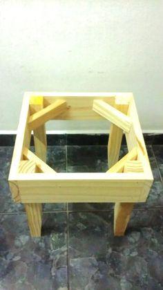 estuctura de madera puff banqueta