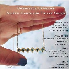 Mark your calendars! Gabrielle Jewelry is coming to Raleigh on April 25th & 26th! @unioncampcollective is hosting the hometown show. I couldn't be more excited about her new pieces (stunning) or to see this creative beauty in person . Join us!  @gabriellejewelry