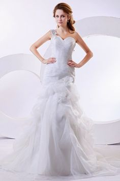 Organza One-Shoulder Cathedral Train A-Line Wedding Dress with Ruffle and Flowers - WooVow