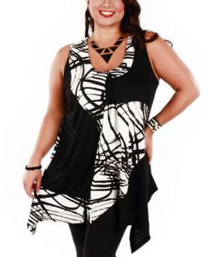 Love this Black & White Abstract Patchwork Sidetail Tunic - Plus by Aster on #zulily! #zulilyfinds