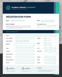 Business Registration Form by afahmy on Envato Elements Form Design, Layout Design, Print Design, Web Design, Corporate Brochure Design, Brochure Layout, Registration Form Sample, Web Forms, Letterhead Design
