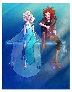 Artist: ky-jane.tumblr.com #elsa #axel #lea #kingdomhearts #frozen #kh3
